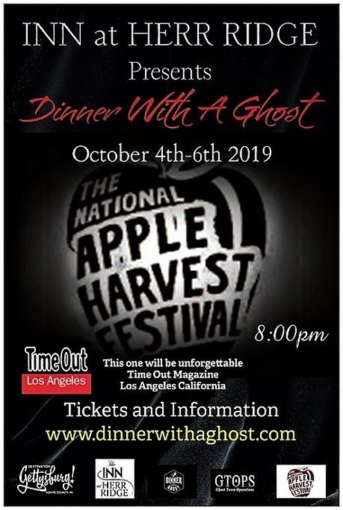 Dinner With A Ghost | Inn at Herr Ridge | Apple Harvest Festival | GTOPS | Destination Gettysburg | Ghosts of Gettysburg